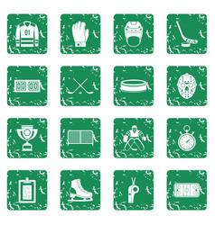 Hockey icons set grunge vector