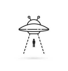 Human abduction aliens linear icon vector