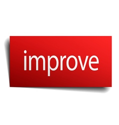 Improve red square isolated paper sign on white vector