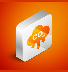 Isometric co2 emissions in cloud icon isolated on vector