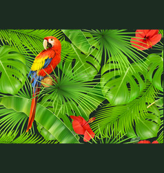 Jungle leaves and parrot seamless pattern 3d vector