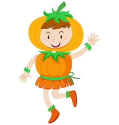 Kid in pumpkin costume for halloween vector