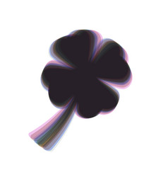 leaf clover sign colorful icon shaked vector image