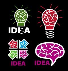Logo idea brain on a black background vector