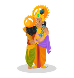 Lord krishna and arjun cartoon character vector