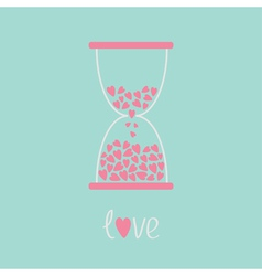 Love hourglass with hearts inside Blue and pink Ca vector