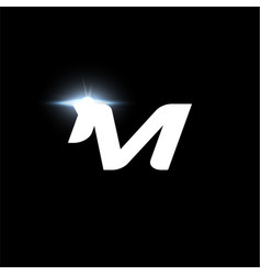 M letter logo bold italic letter for automotive vector