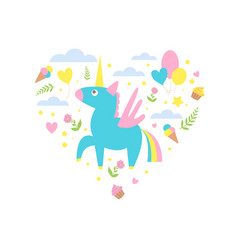 magic unicorn with clouds and ice creams heart vector image