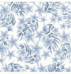 Monochrome seamless tropical pattern vector