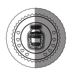 monochrome sticker round frame with bottle with vector image
