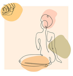 outline woman body on floral vector image