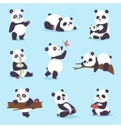 Panda bear set vector image