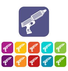 Plastic gun toy icons set flat vector