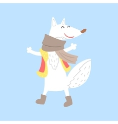 Polar White Fox In Vest And Scarf Arctic Animal vector