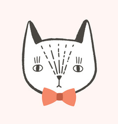 pretty face or head cat with elegant bow tie vector image