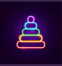 Pyramid toy neon sign vector