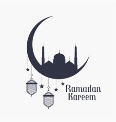 Ramadan kareem background with mosque and lamps vector