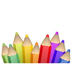 realistic 3d wooden color pencils vector image
