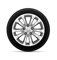 realistic car tire wheel alloy with tire vector image