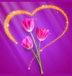 realistic tulip flowers flowers of tulips close vector image