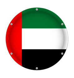 round metal flag and screws - united arab emirates vector image