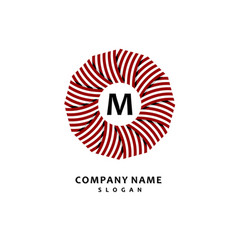 Round stripe wreath stylish and graceful monogram vector