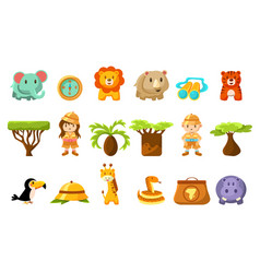 Safari big set kids and funny african animals vector