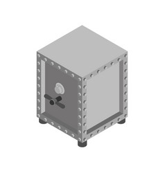 safe isolated storage iron strongbox for money vector image
