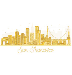san francisco usa city skyline golden silhouette vector image