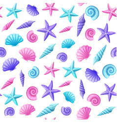 Sea shells pattern vector