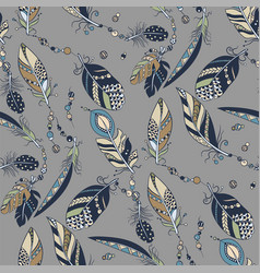 seamless pattern with feathers and beads in vector image
