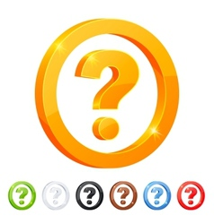 Set of 7 question symbol in different colors vector image