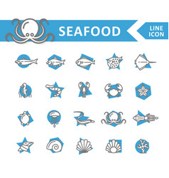 set of fish and sea food line icons shrimp vector image