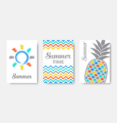 simple colourful summer cards set isolated vector image