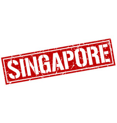 Singapore red square stamp vector