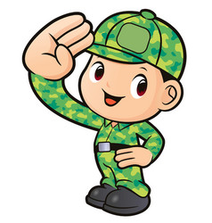 Soldier character salute isolated on white vector