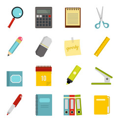 Stationery symbols icons set in flat style vector