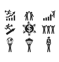 Successful businessman pictogram icons set vector