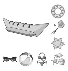 summer rest monochrome icons in set collection for vector image