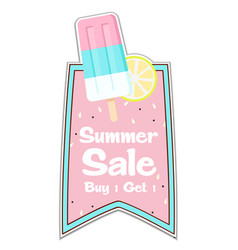 summer sale buy 1 get 1 ribbon ice cream pink back vector image
