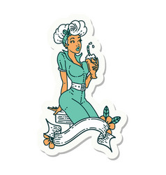 Tattoo sticker a pinup girl drinking a vector
