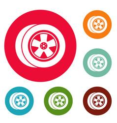 transport icons circle set vector image