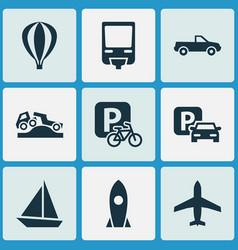 Transport icons set with parking velocipede vector