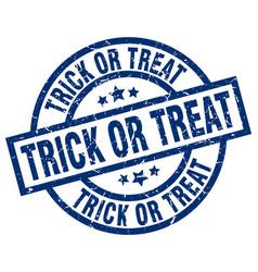 trick or treat blue round grunge stamp vector image