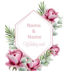 vintage roses frame watercolor wedding card vector image