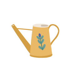 Watering can or pot decorated cute flower vector