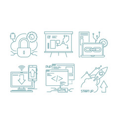 web development icon design and code developers vector image