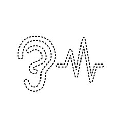 ear hearing sound sign black dashed icon vector image