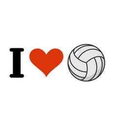i love volleyball heart and ball emblem for vector image