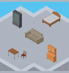isometric design set of sideboard chair couch vector image vector image